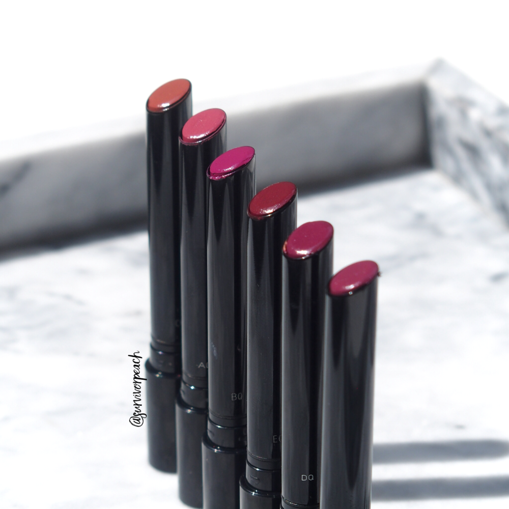 Hourglass Confession Lipsticks in shades I've Been, One Time, When I'm With You, When I'm Alone, If I Could, I Hide My