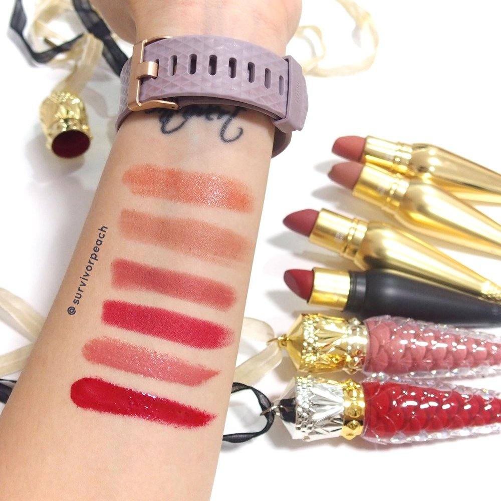 Louboutin Beauty swatches : Silky Satin Lipstick in Tutulle, Velvet Matte in Just Nothing, Rococotte, ROuge Louboutin, Loubilaque Lip Laquer in Altereva and Rouge Louboutin.