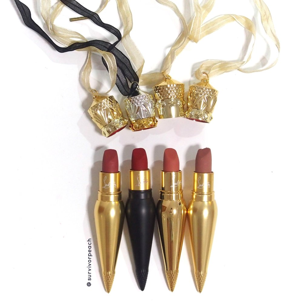 Louboutin Lipsticks in Rococotte, Louboutin Rouge, Tutulle, and Just Nothing