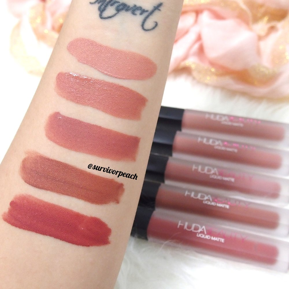 Swatches of the Huda Beauty Liquid Lipsticks in Crush, Sugar Mama, Bombshell, Trendsetter, and Icon.