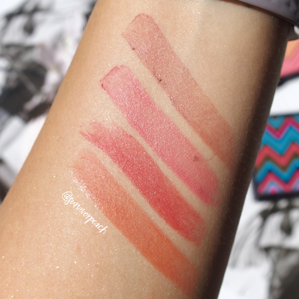 Light swatches if the Rouge Expert Click sticks in #3 Bare Me #6 Rosy Flush, #11 Baby Brick, and #12 Naked Nectar.
