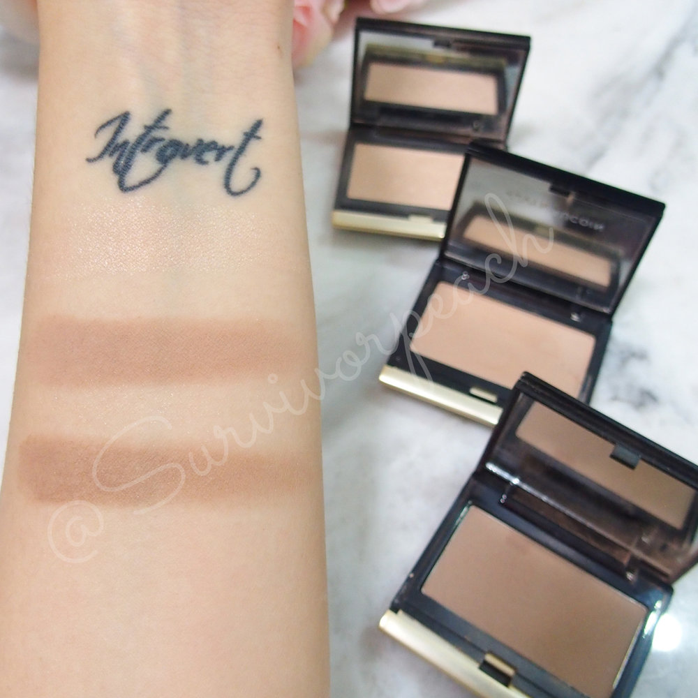 Swatches of the Kevyn Aucion Celestial powder in Candlelight and Sculpting Powders in Light and Medium