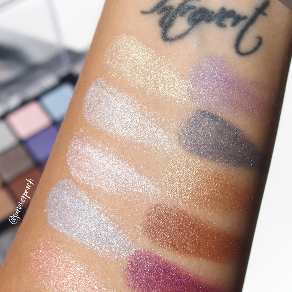 Swatches of the Viseart Bridal Satin Palette