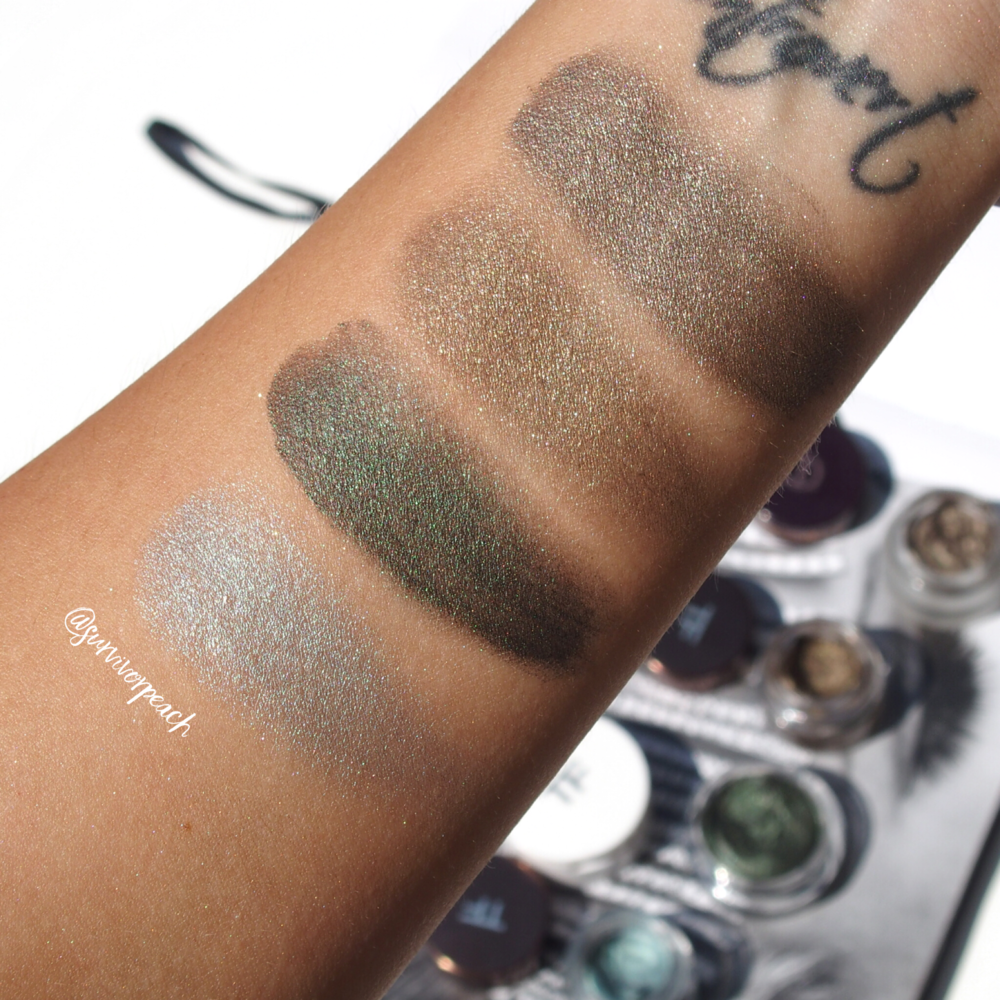 Swatches of the Charlotte Tilbury Veruschka, Tom Ford Burnished Copper, Tom Ford Emerald Isles, Tom Ford Siren Blue