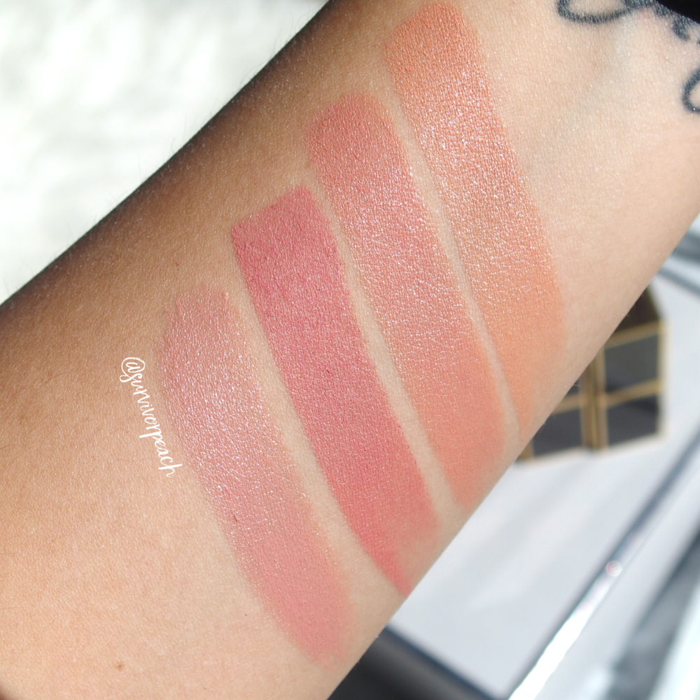 Swatches of the Tom Ford Lipsticks in Spanish Pink, Pink Dusk, First Time, Blush Nude