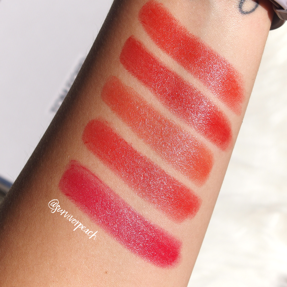 Swatches of the Tom Ford Lipsticks in Wild Ginger, Scarlet Rouge, Contempt, Vermillionaire, Jasmin Rouge