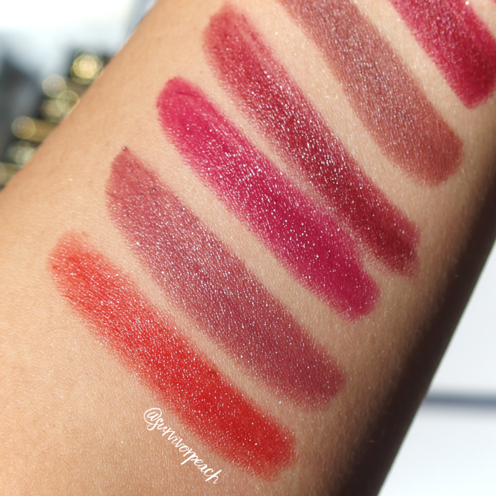 Swatches of the Tom Ford Lips and Boys in Nicholas, Christopher, Inigo, Jack, Mitchell, Warren
