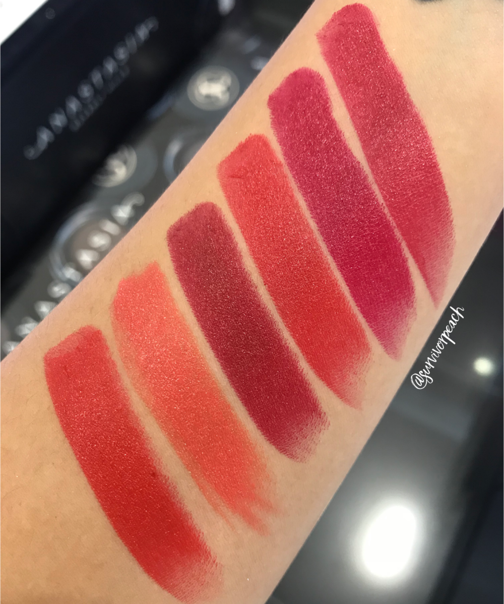 Swatches of the Becca Ultimate Lipstick Love