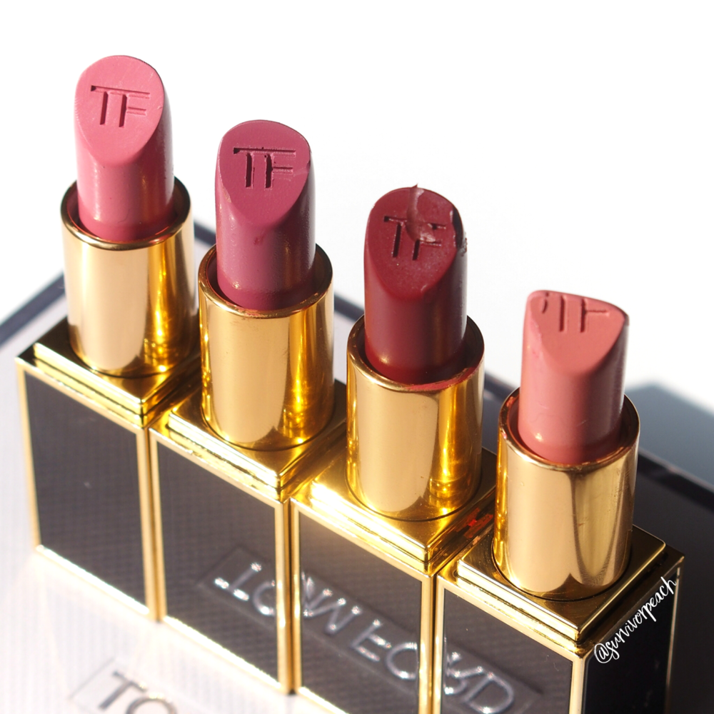 Tom Ford Matte Lipsticks in Pink Tease, Pussycat, Velvet Cherry, First Time