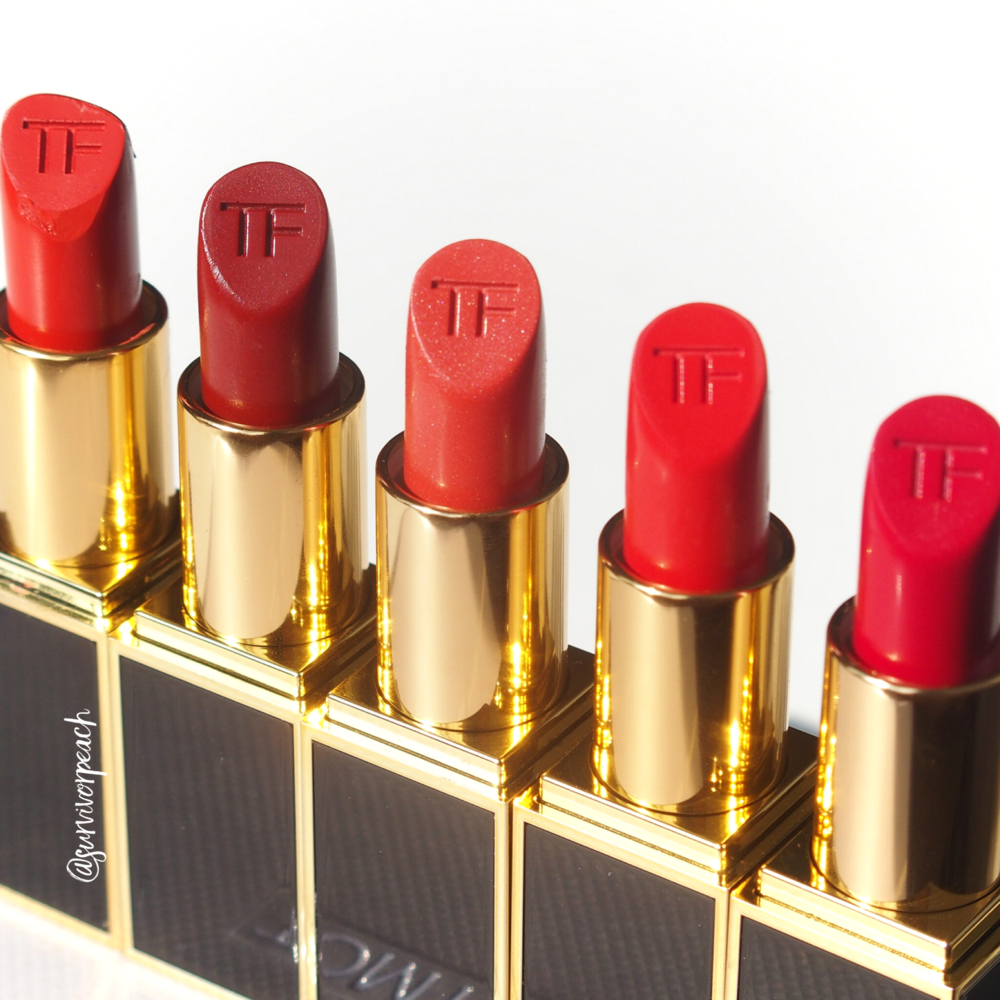 Tom Ford Lipsticks in Wild Ginger, Scarlet Rouge, Contempt, Vermillionaire, Jasmin Rouge