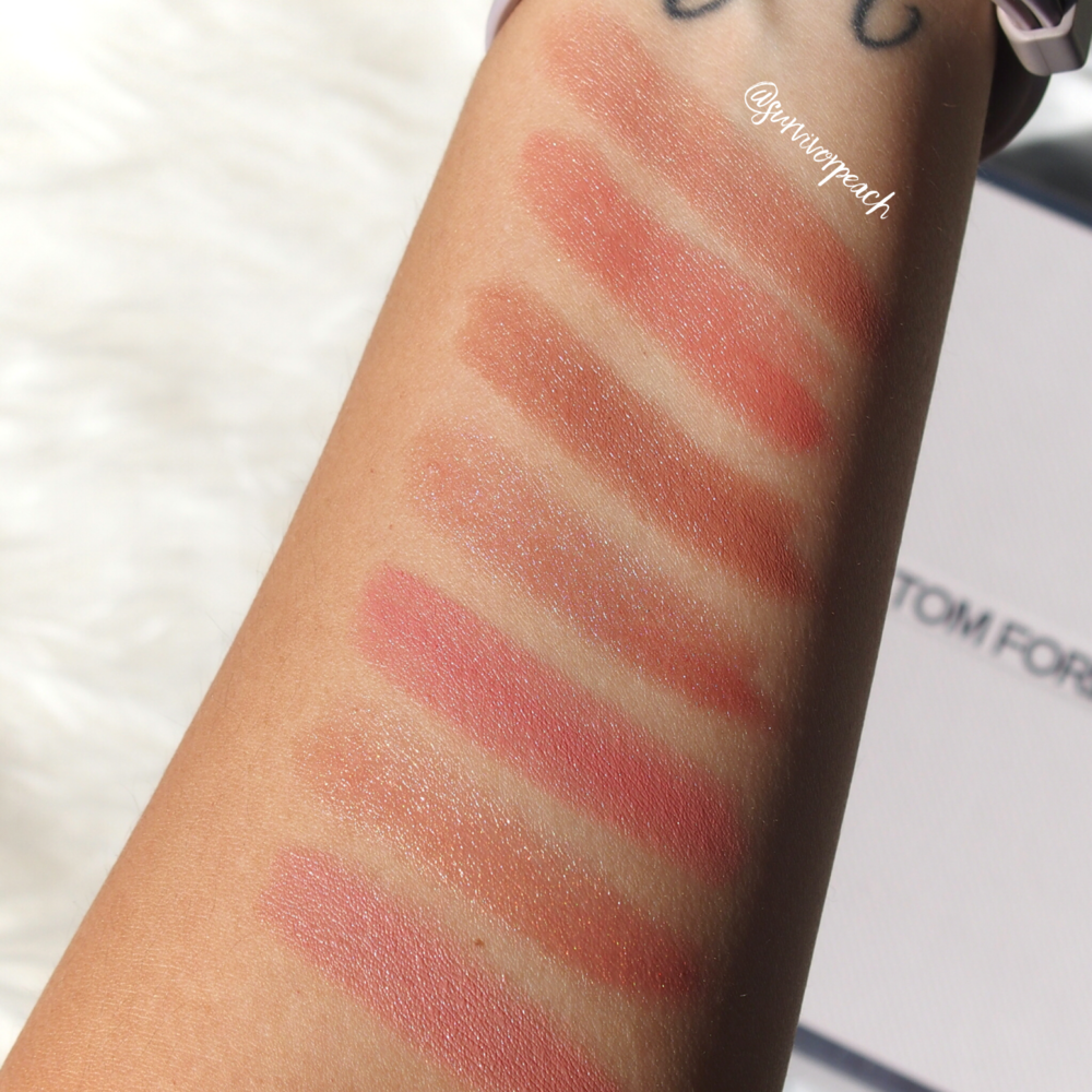 Swatches of the Tom Ford Lips and Girls in Katherine, Zoe, Joan, Ellie, Marisa, Julienne, Gal