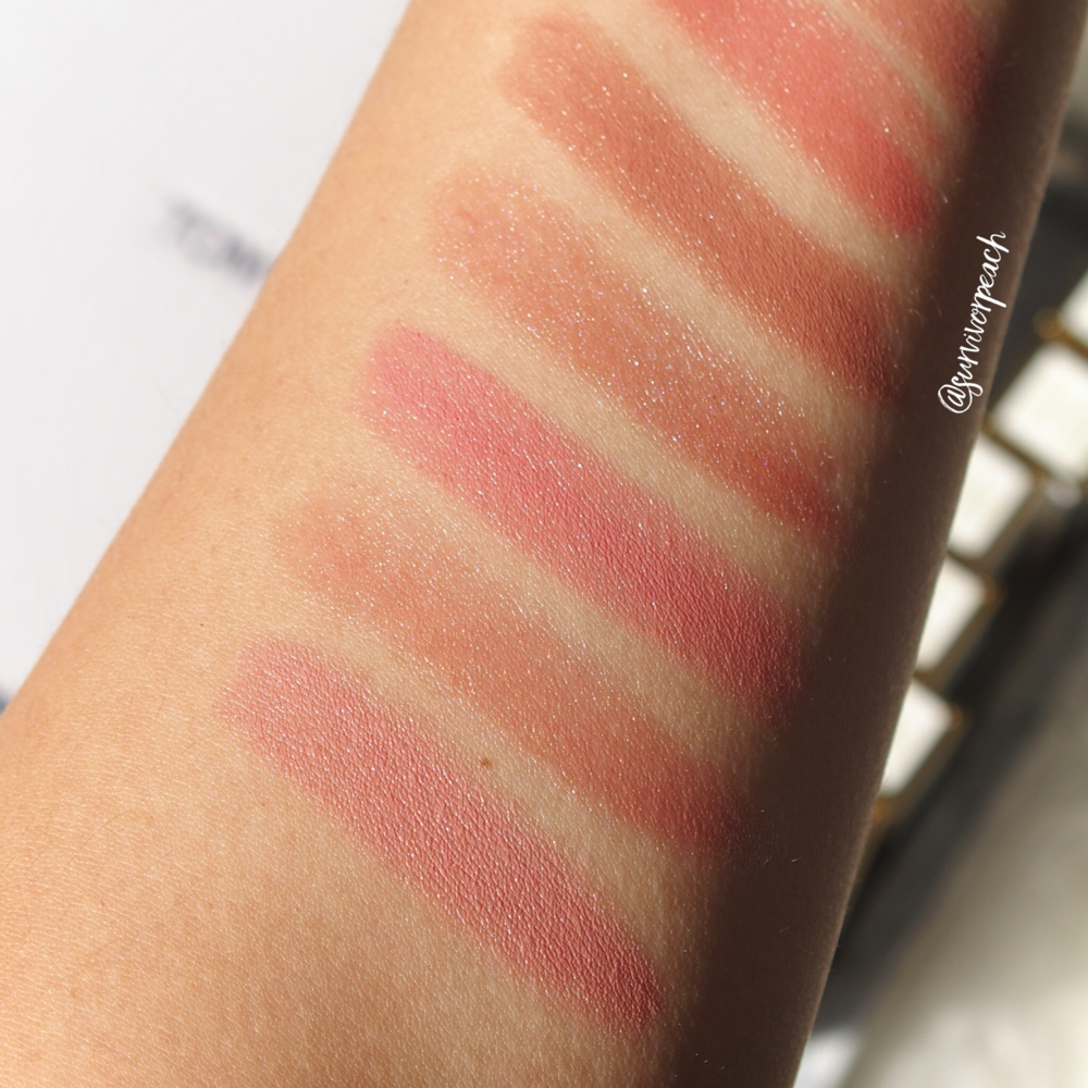 Swatches of the Tom Ford Lips and Girls in Joan, Ellie, Marisa, Julienne, Gal