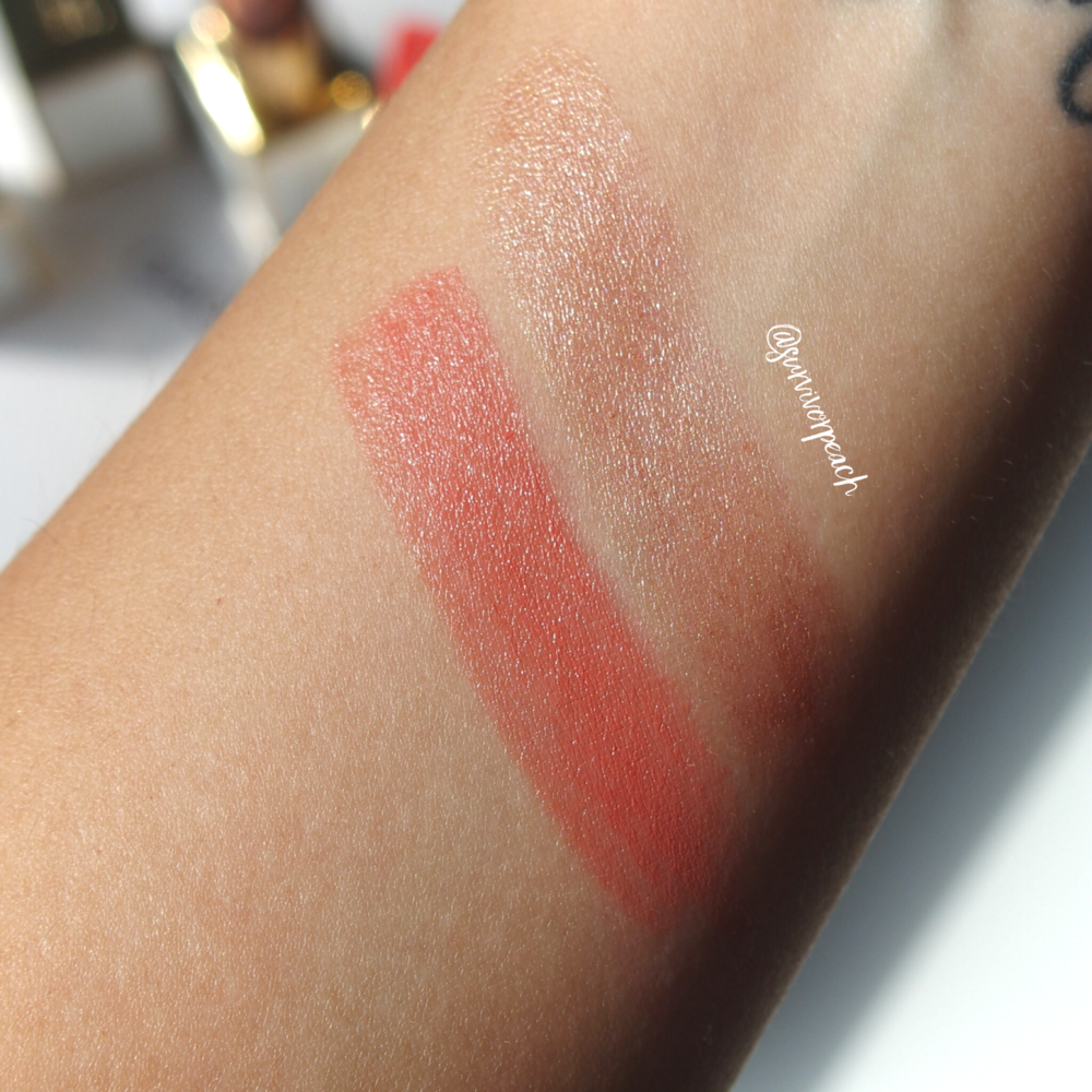 Swatches of the Tom Ford Lip Color Sheer in Nudiste and Solar Affair.