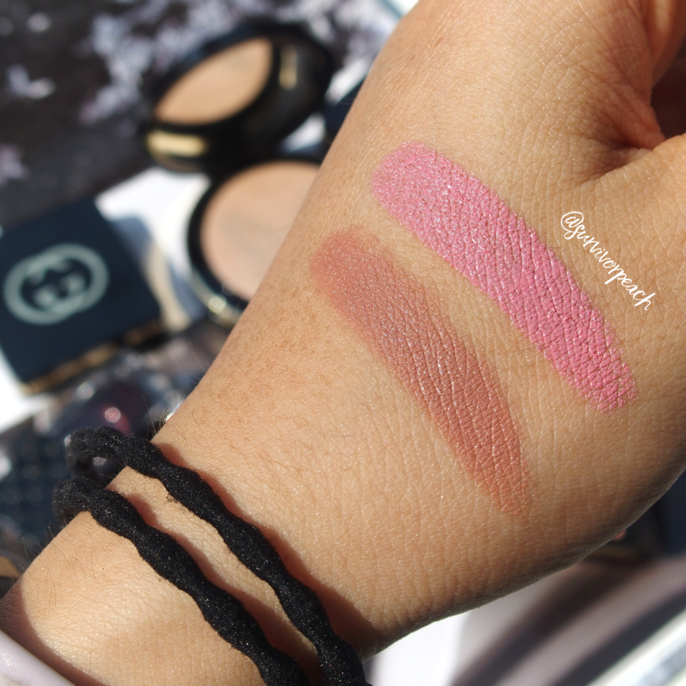 Swatches of the Gucci Sensuous Deep Matte lipstick in shades 210 Spring Rose and 220 Exposure.