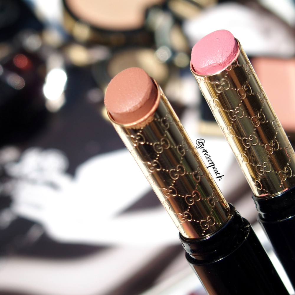 Gucci Sensuous Deep Matte lipstick in shades 210 Spring Rose and 220 Exposure.