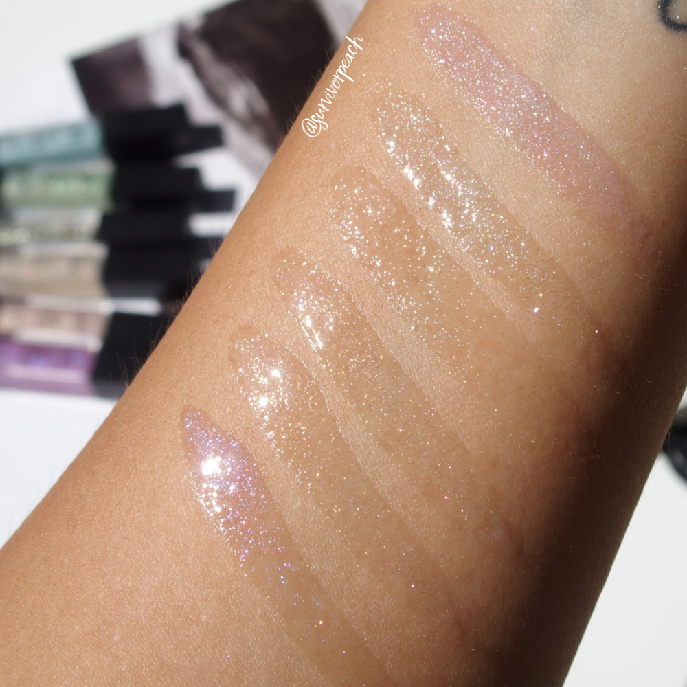 Swatches of the Surratt Beauty Lip Lustre in shades Je Ne Sais Quoi, Faux Pas, Etiole, Viola!, Oh La La, and Amethyst