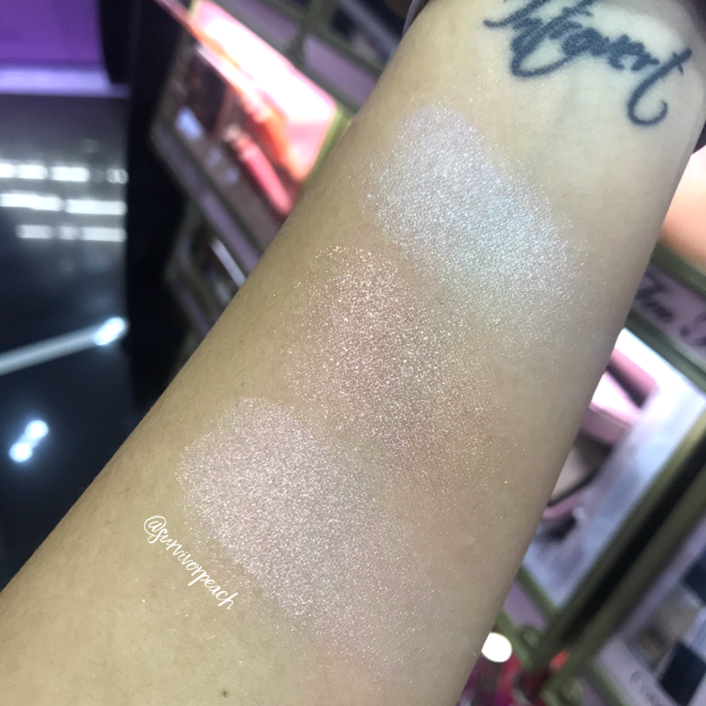 Swatches of the Too faced Diamond Fire, Canary Diamond and Fancy Pink Diamond Highlighter