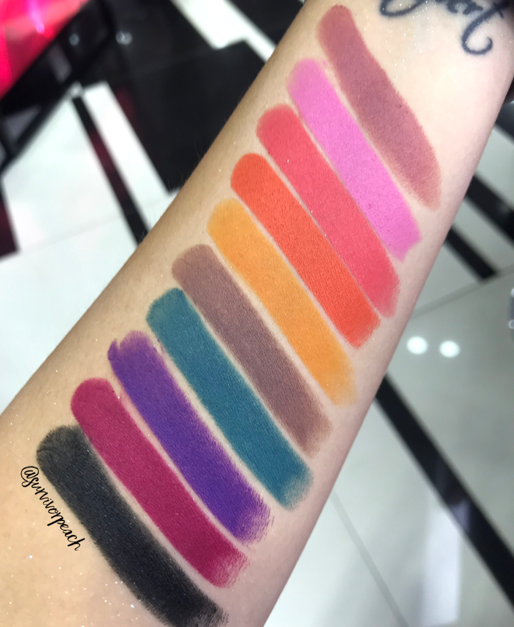 Swatches of the Fenty Beauty Mattemoiselle Plush Matte Lipstick in Thicc, Ballerina Blackout, Dragon Mami, Tiger Tini, Pumpkin Rose, I Quit, Tucks and Caicos, Violet Fury, Flamingo Acid, and F'N Black