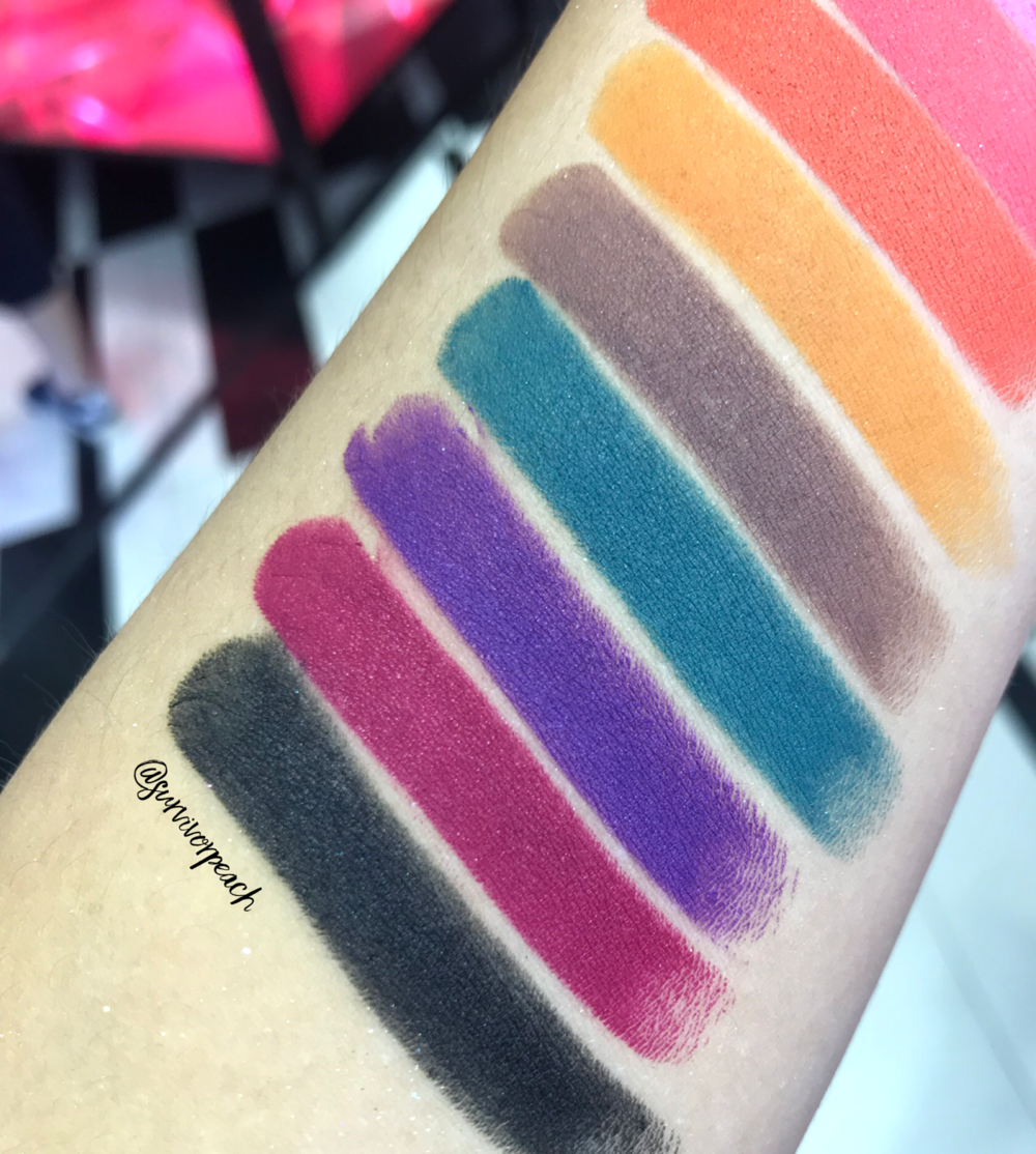 Swatches of the Fenty Beauty Mattemoiselle Plush Matte Lipstick in Tiger Tini, Pumpkin Rose, I Quit, Tucks and Caicos, Violet Fury, Flamingo Acid, and F'N Black