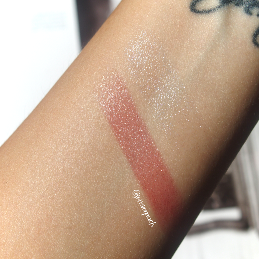 Swatches of the Surratt Prismatique Lips in shades Diamantee and Haute Monde.