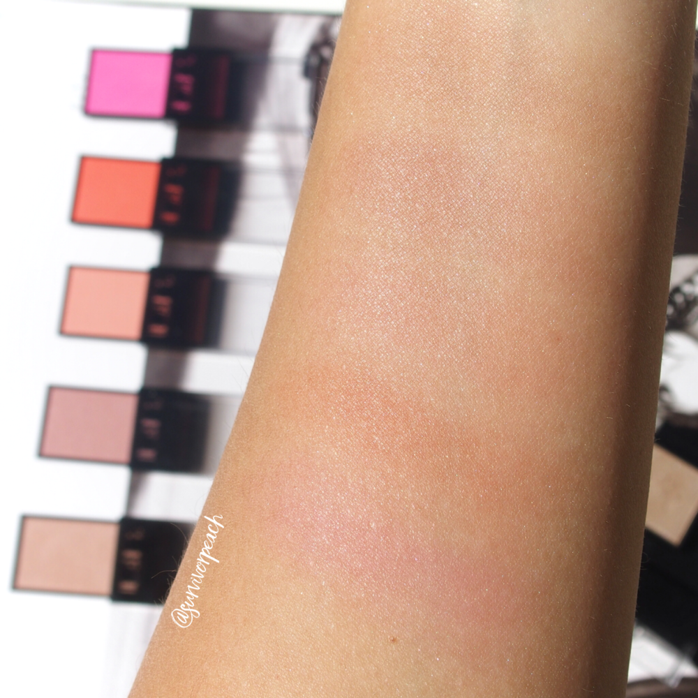 Swatches of the Surratt Astistique Blush in shades La Rosee Du Soir, La Vie In Rose, Parfait, Brillante Idee, and Se Pomponer