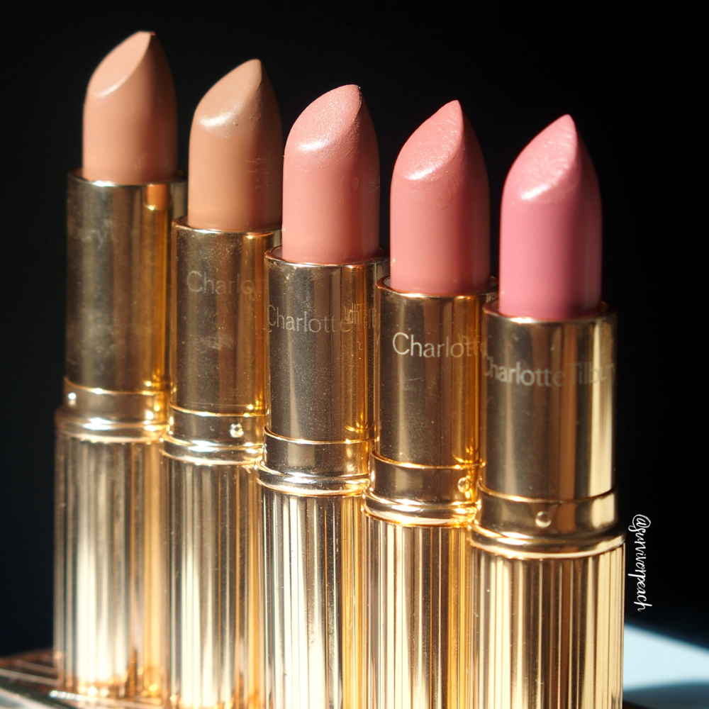 Charlotte Tilbury K.I.S.S.I.N.G Lipsticks in shades Penelope Pink, Hepburn Honey, Bitch Perfect, American Sweetheart, The Duchess
