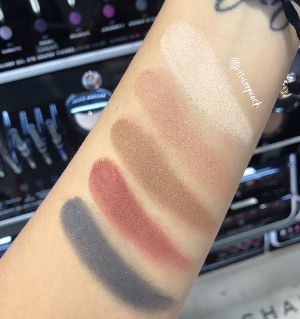 Swatches of the Marc Jacobs Beauty O!Mega Gel Powder Eyeshadow in Perfect-O!, The Big O!, Daddi-O!, O! Mercy, and Dynam-O!.