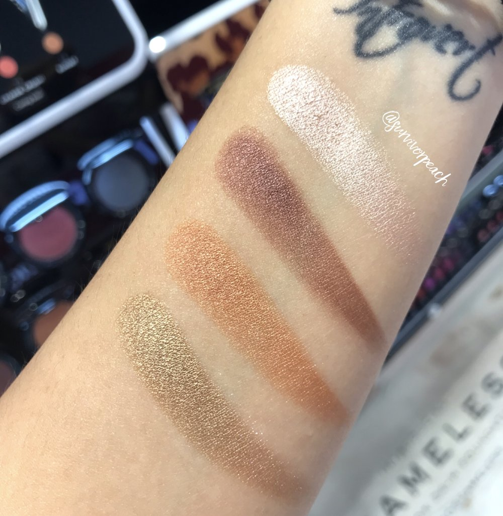 Swatches of the Marc Jacobs Beauty O!Mega Gel Powder Eyeshadow in Prim-O!, O! Yeah, O!MG, and Brav-O!