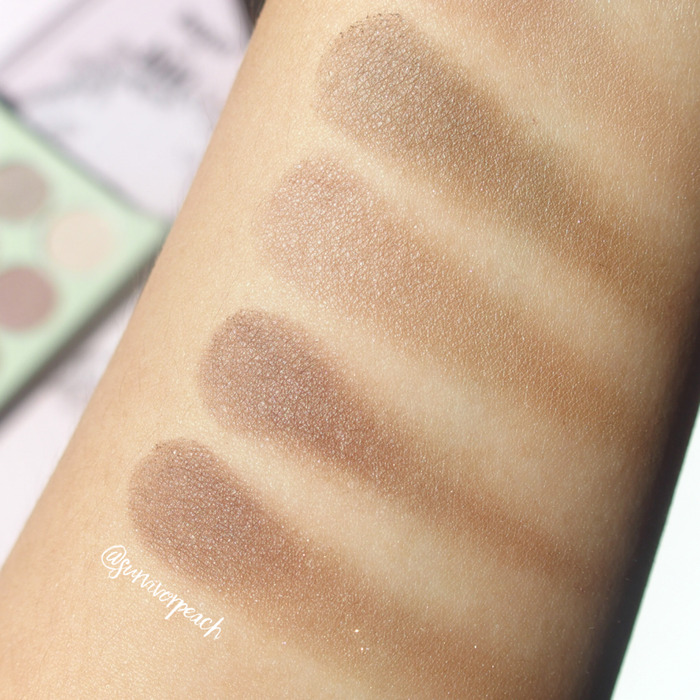 Swatches of the Pixi by Petra Eye Reflections Shadow palettes - Natural Beauty (matte shades)