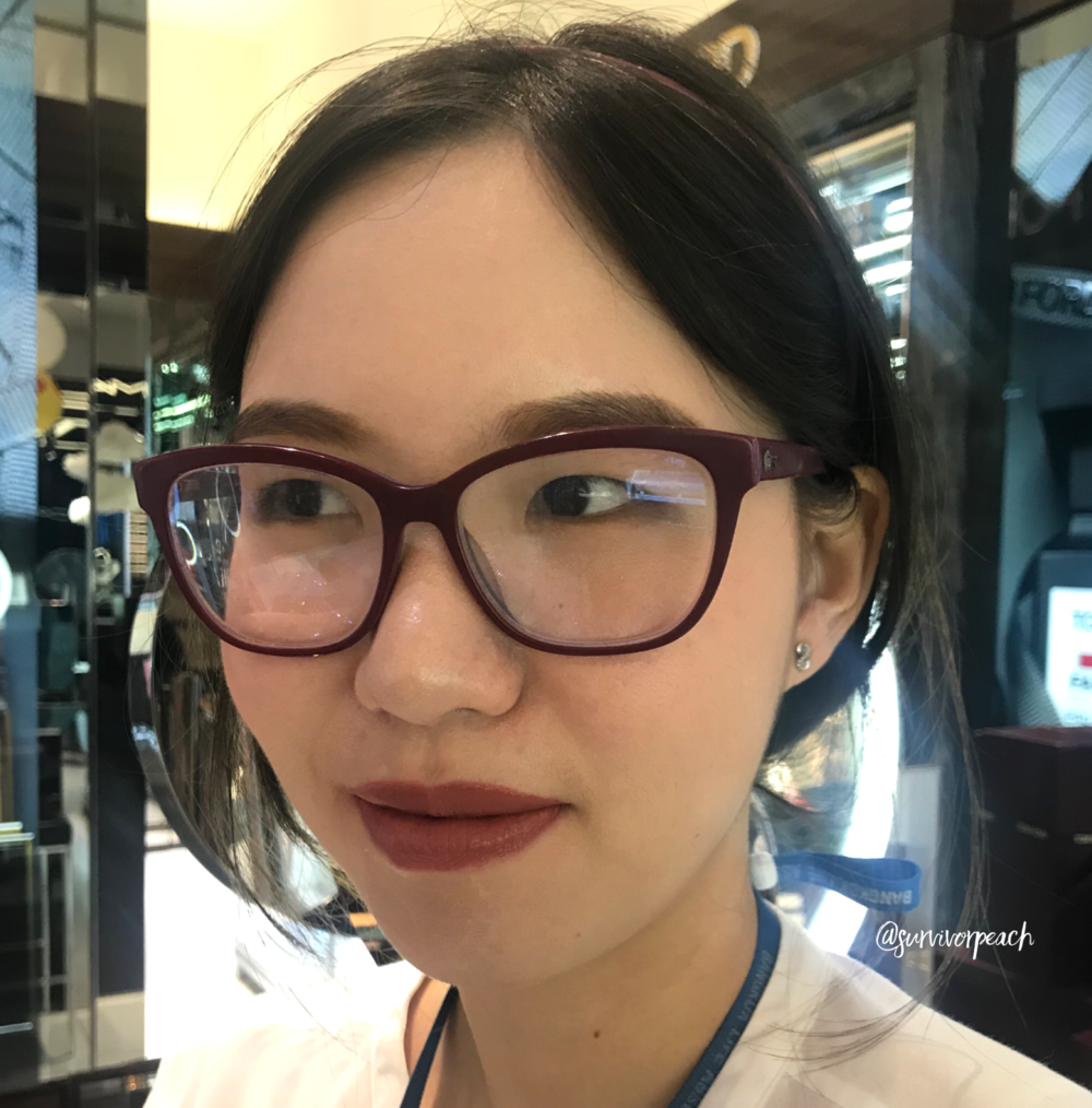 Me wearing the Tomford Lip Lacquer Luxe Matte in shade 03 Lark