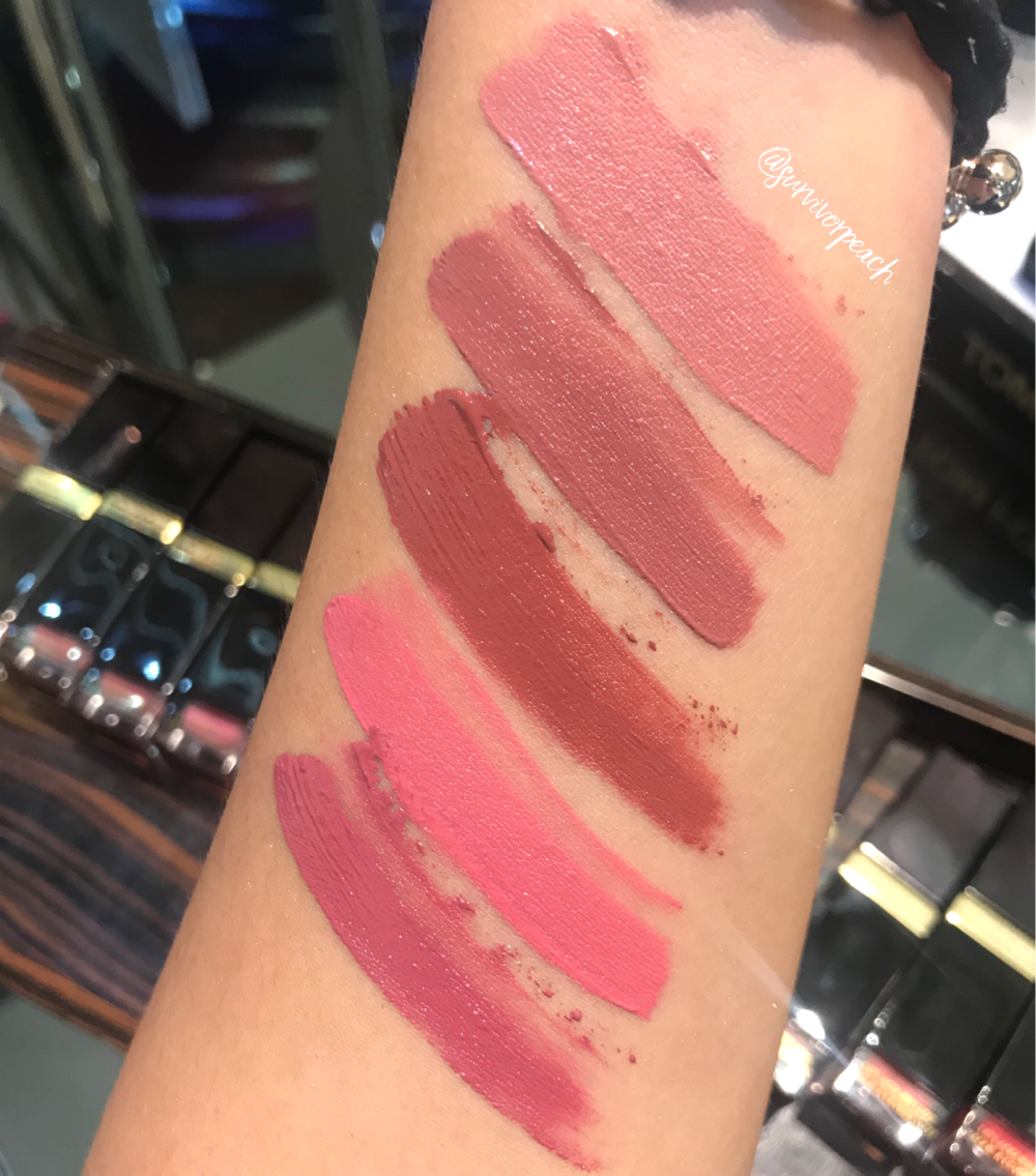 Swatches of the Tomford Lip Lacquer Luxe Matte in shades Darling, Quiver, Lark, Insouciant, and Pussycat