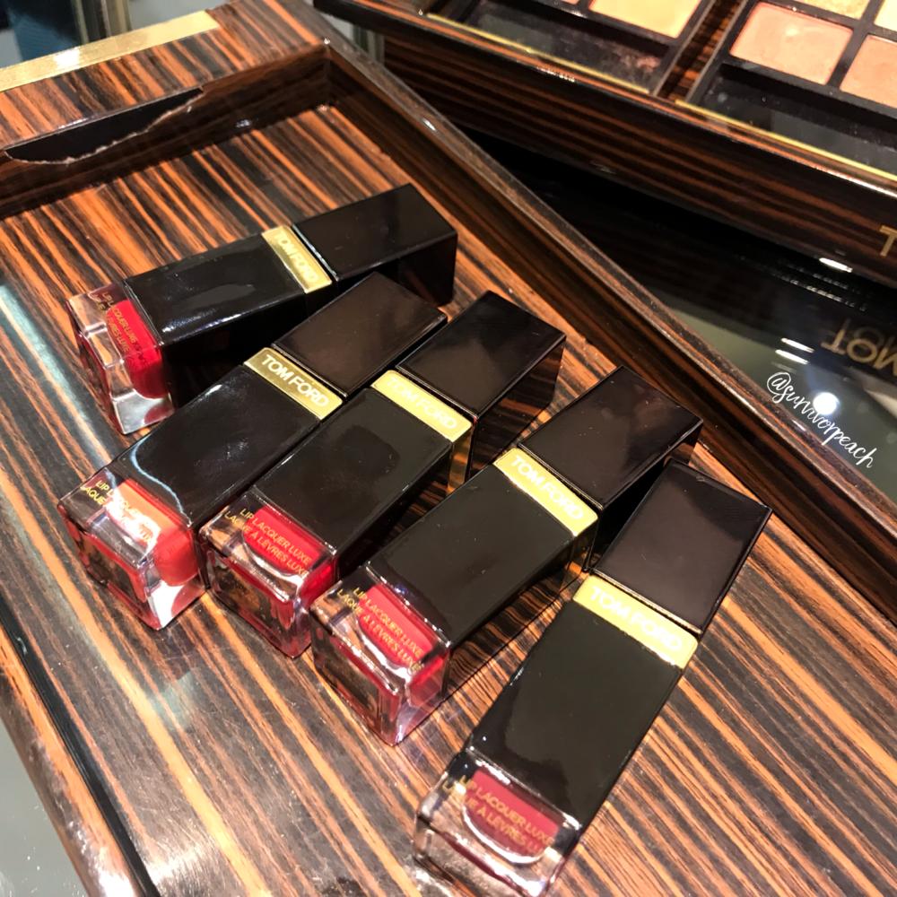 Tomford Lip Lacquer Luxe Matte in shades Habitual, Jaguar, Over Power, Amaranth, Beau Jolais