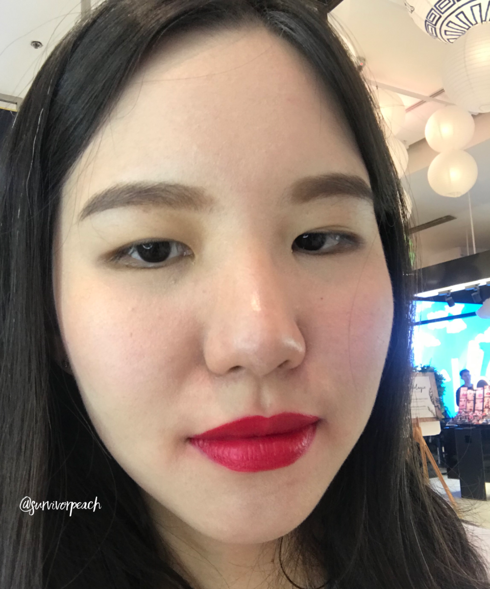 Me wearing the Tomford Lip Lacquer Luxe Matte in shade 08 Over Power