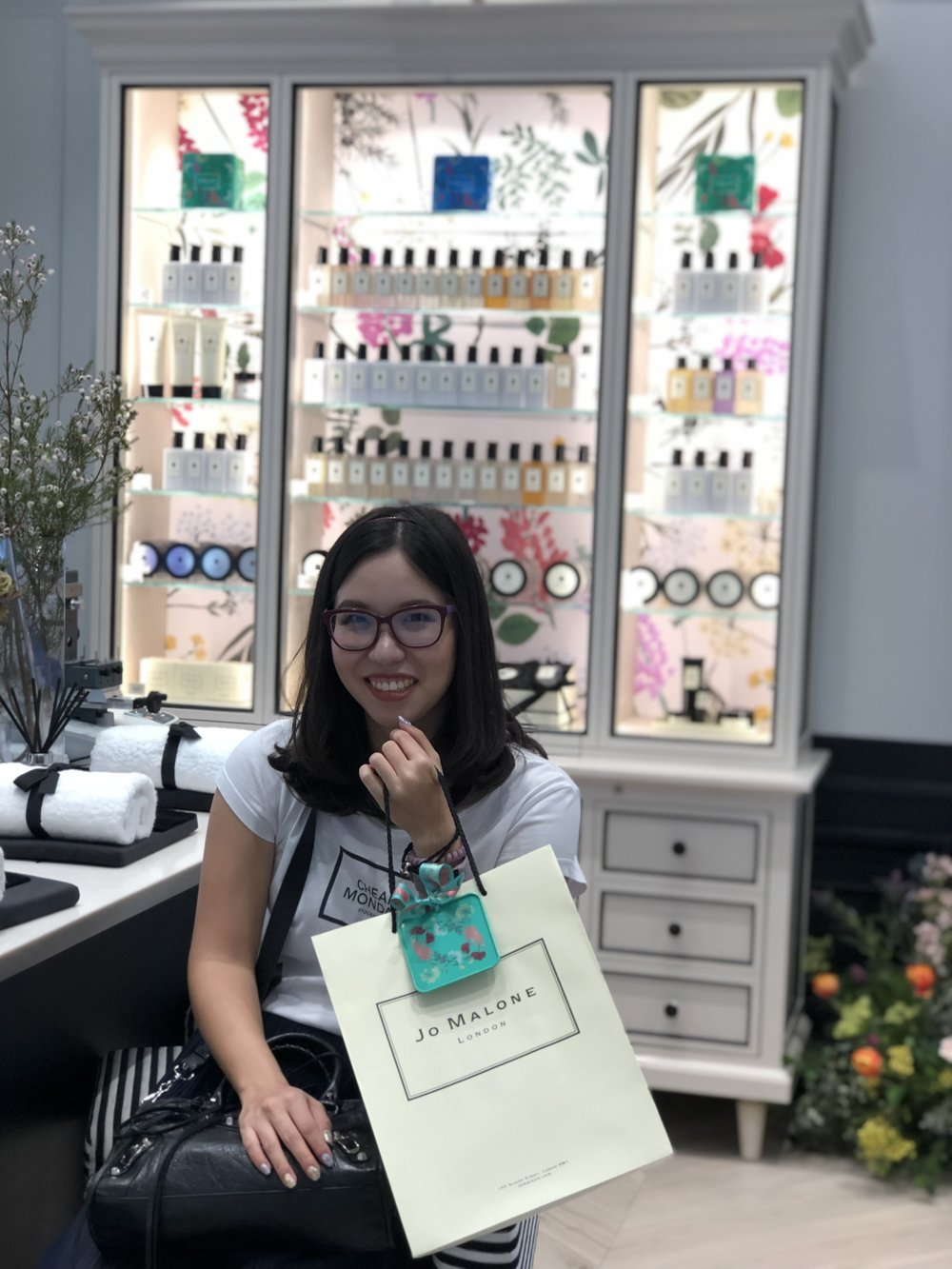 Me, smiling from ear to ear at the Jo Malone shop.