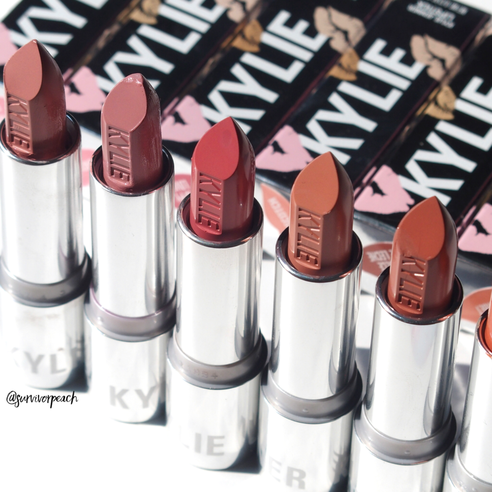 Kylie Cosmetics Creme lipstick in shades Creme Brulee, Infuation, Puppy Love, Butterscotch, Dulce De Leche, Sherbet