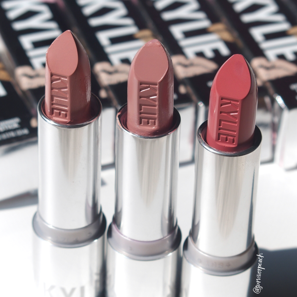 Kylie Cosmetics Creme lipstick in shades Creme Brulee, Infuation, Puppy Love