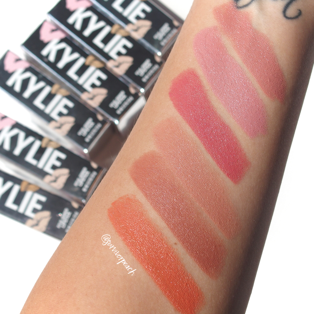 Swatches of the Kylie Cosmetics Creme lipstick in shades Creme Brulee, Infuation, Puppy Love, Butterscotch, Dulce De Leche, Sherbet
