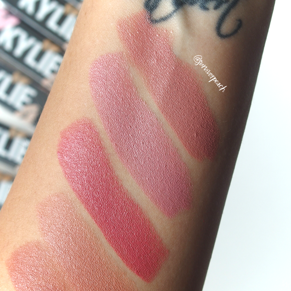 Swatches of the Kylie Cosmetics Creme lipstick in shades Creme Brulee, Infuation, Puppy Love