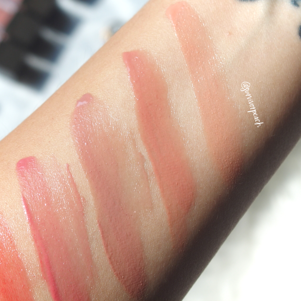 Swatches of the Jouer Sheer Pigment Lipgloss in shades St.Germain, Oxford St, Diamond Walk, Worth Ave