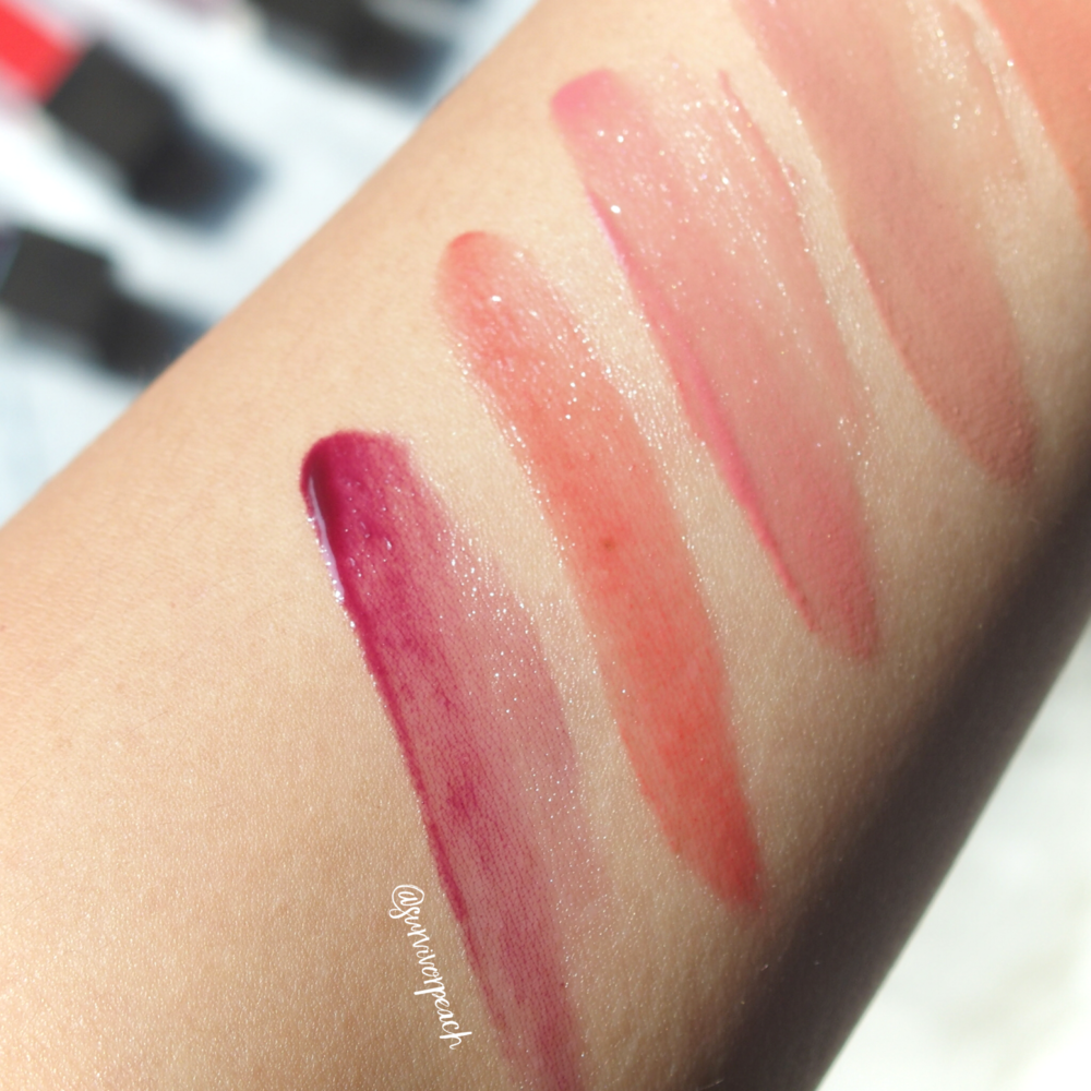 Swatches of the Jouer Sheer Pigment Lipgloss in shades Worth Ave, Serrano, Via Condotti.