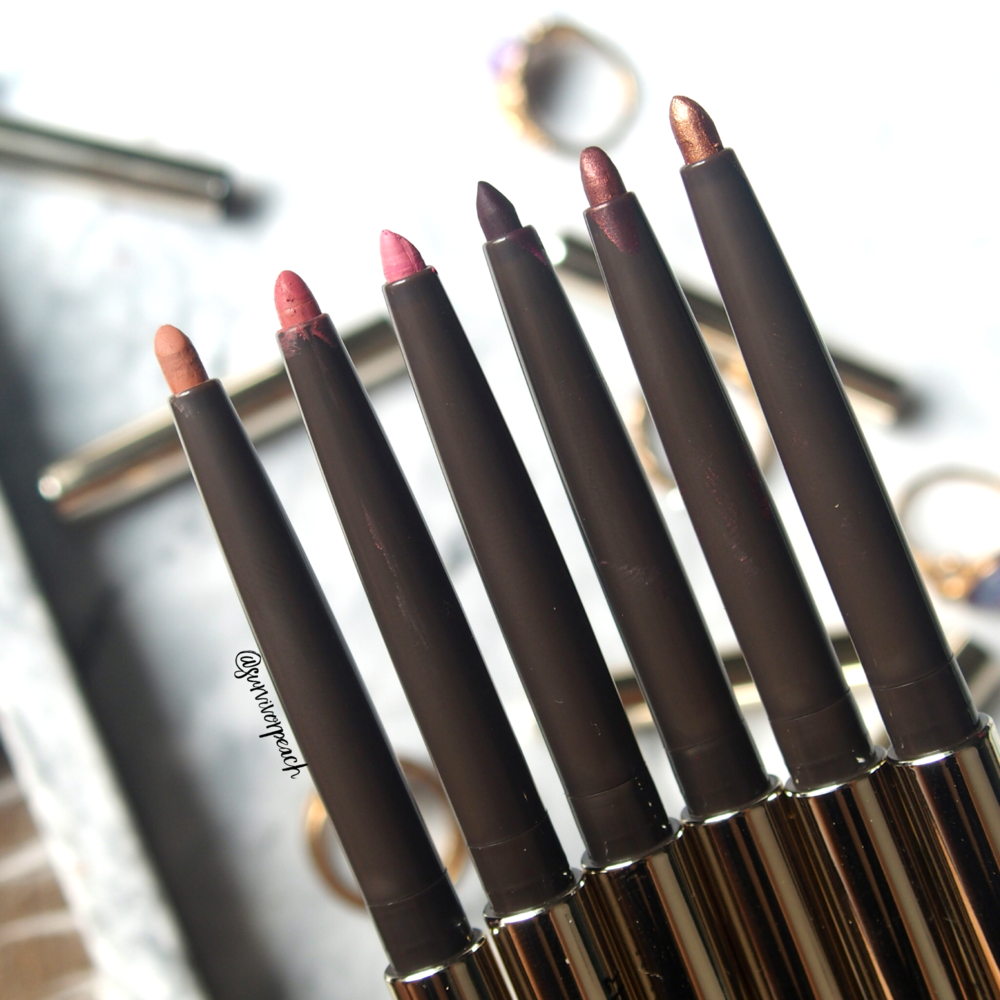 Jouer Long Wear Creme Lip Liners in shades Fawn, Tawnyrose, Petal, Aubergine, Rosewood, Bronze Shimmer
