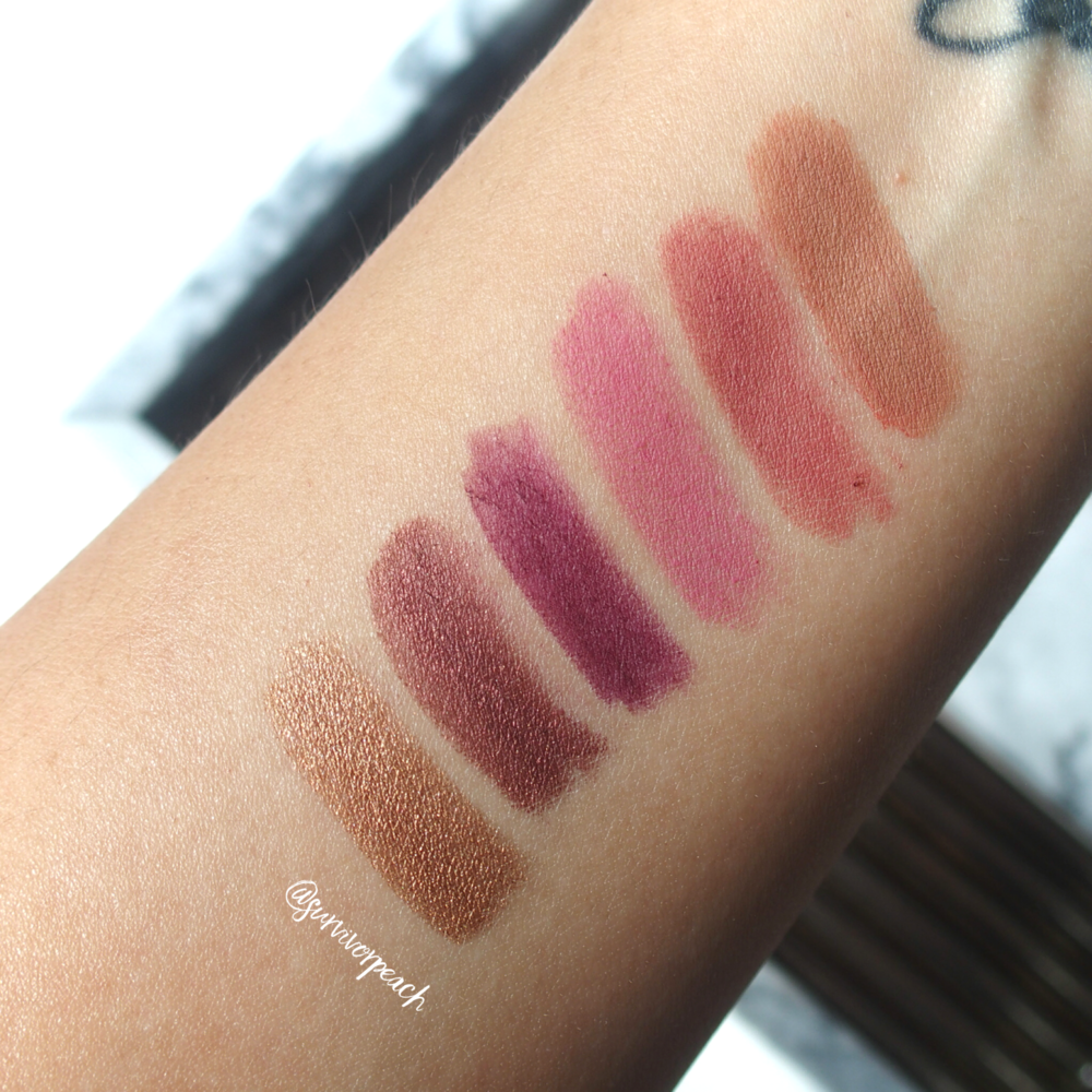 Swatches of the Jouer Long Wear Creme Lip Liners in shades Fawn, Tawnyrose, Petal, Aubergine, Rosewood, Bronze Shimmer