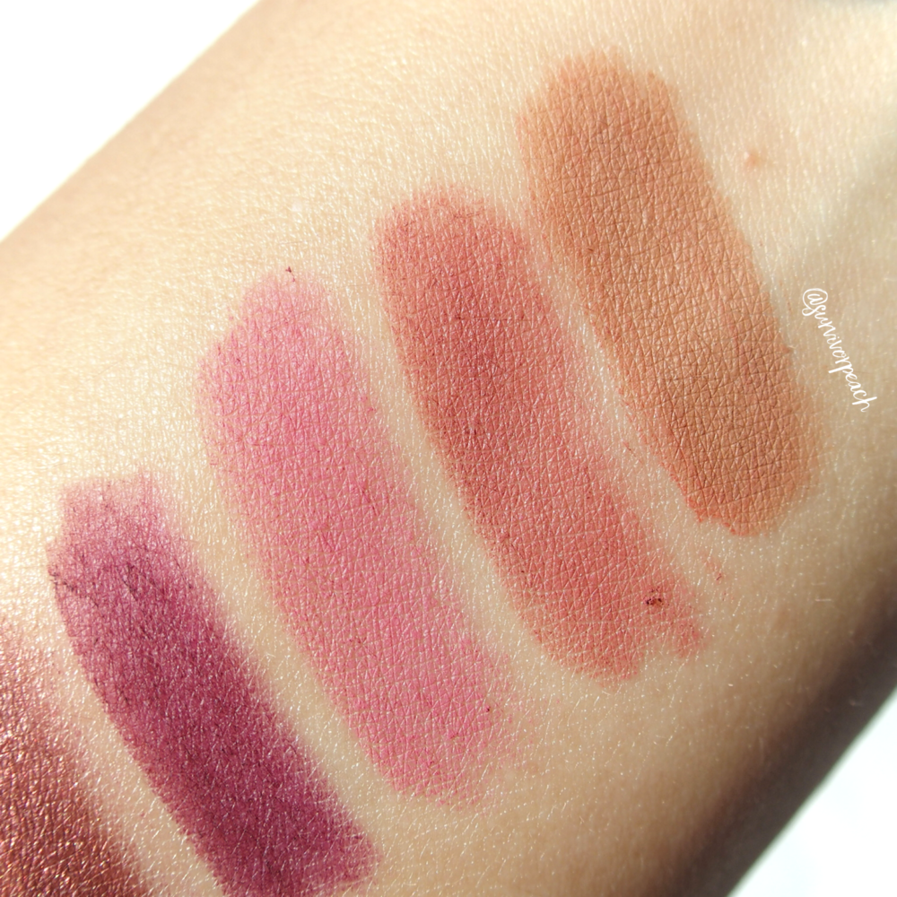 Swatches of the Jouer Long Wear Creme Lip Liners in shades Fawn, Tawnyrose, Petal, Aubergine