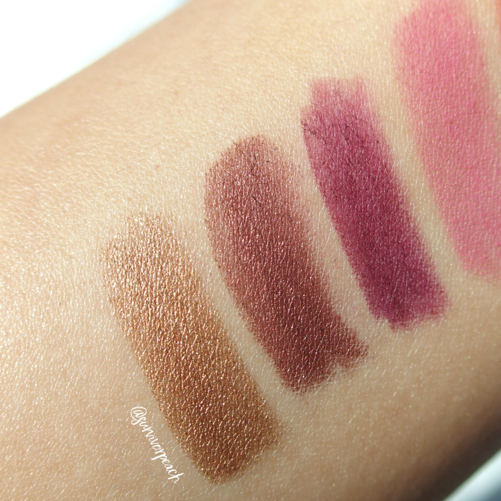 Swatches of the Jouer Long Wear Creme Lip Liners in shades Petal, Aubergine, Rosewood, Bronze Shimmer