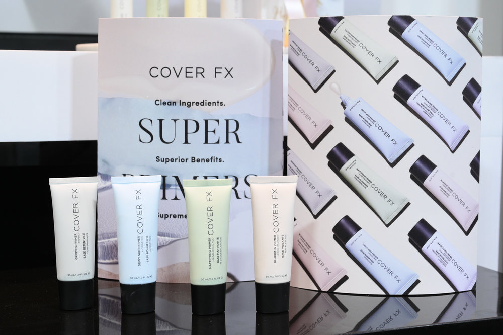 Cover FX Gripping Primer, Blurring Primer, Mattifying Primer, and Dewy Skin Primer.