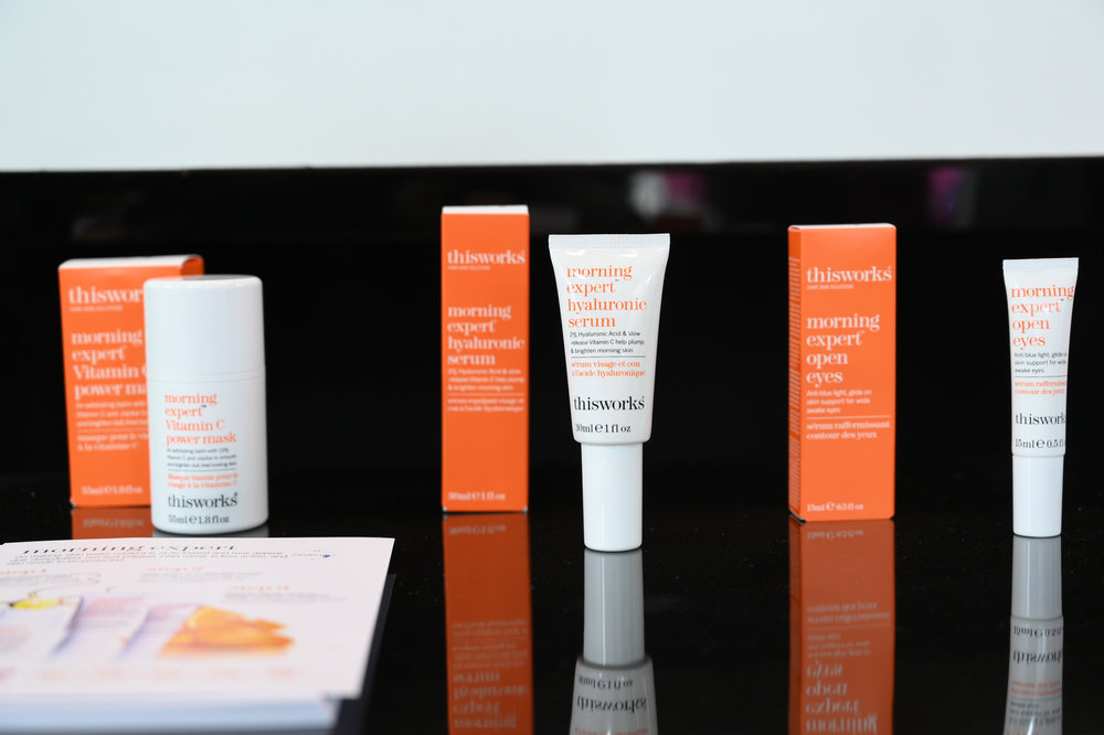 Thisworks Morning Expert Vitamin C Power Mask, Hyaluronic Serum, and the Morning Expert Open Eyes.