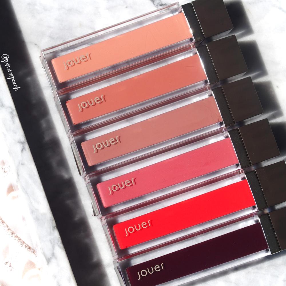 Jouer Sheer Pigment Lipgloss in shades St.Germain, Oxford St, Diamond Walk, Worth Ave, Serrano, Via Condotti.
