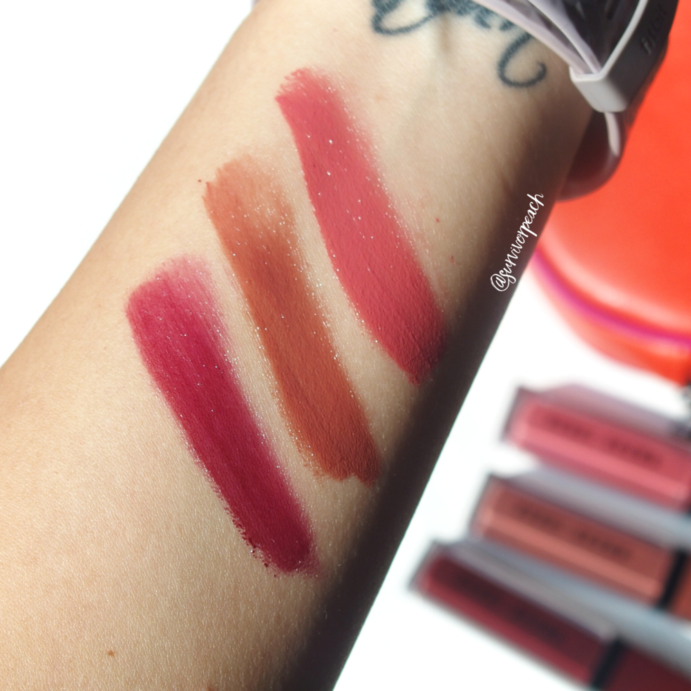 Swatches of the Bobbi Brown Crushed Liquid Lip in shades Give a Fig, Haute Cocoa, Cool Beats