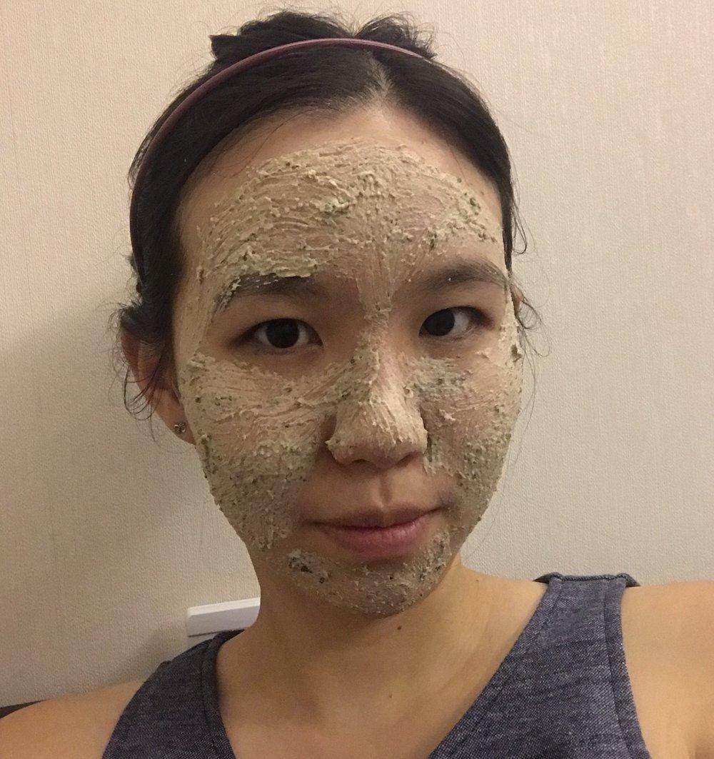 Me wearing Lush BB Seaweed Fresh Face Mask