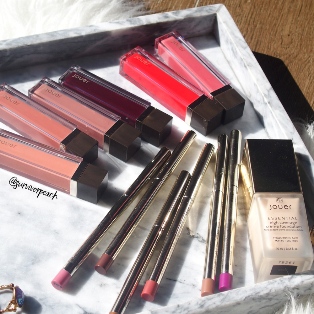 Jouer Sheer Pigment Lipgloss + Long Wear Creme Lip Liners+ Essential High Coverage Creme Foundation